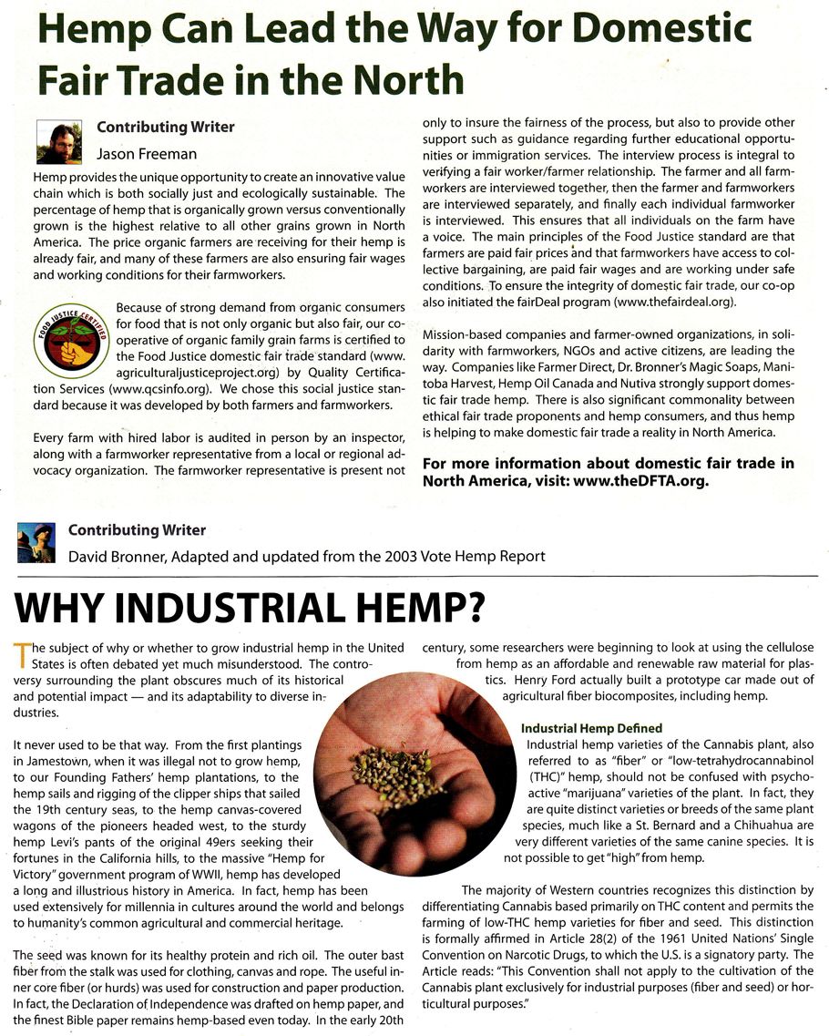 Why Industrial Hemp? article from For a better world magazine