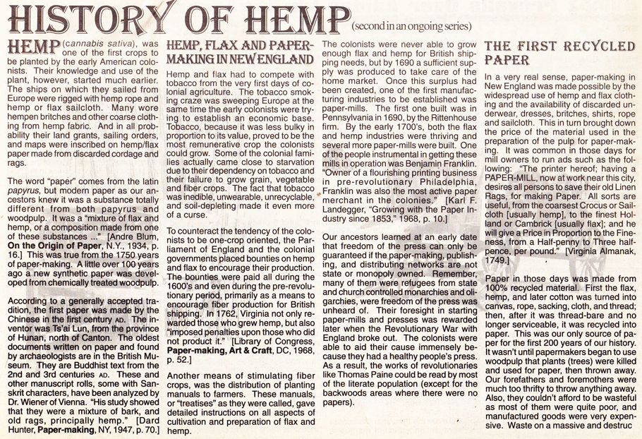 The History of Hemp part 2 page 1, Hemp Magazine 1996