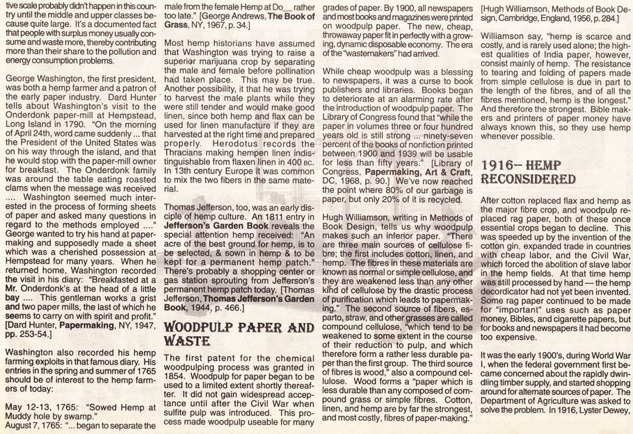 The History of Hemp part 2 page 2 Hemp Magazine 1996