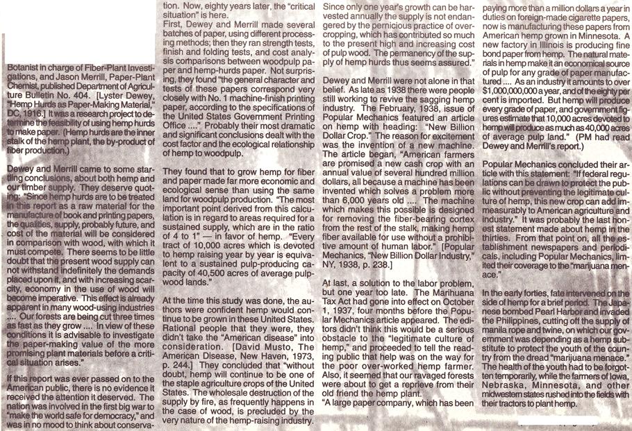 The History of Hemp part 2 page 3 Hemp Magazine 1996