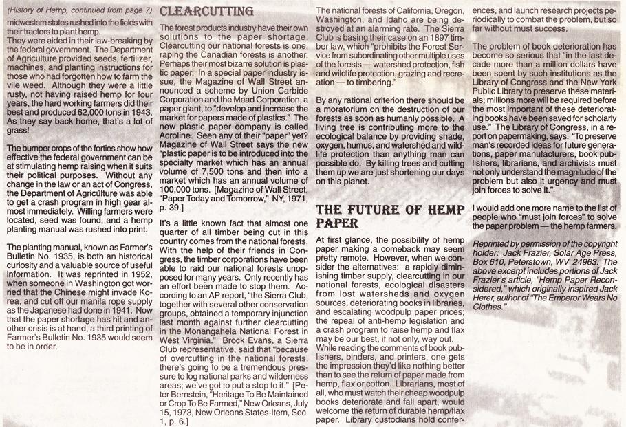 The History of Hemp part 2 page 4 Hemp Magazine 1996